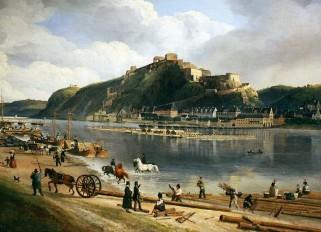 Festung Ehrenbreitstein 1828, Gemälde von Johann Adolf Lasinsky (Ausschnitt)