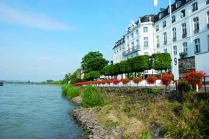 Rheinseite Wassser und  Blumen