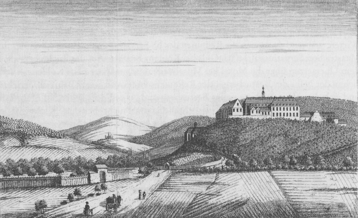 Karthäuser Kloster in Koblenz, Abb. aus Joseph Gregor Lang: Reise auf dem Rhein, 1789