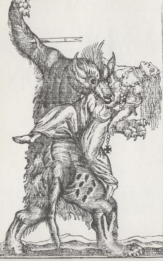 Darstellung einer Werwolfsattacke, vermutlich 18. Jh.