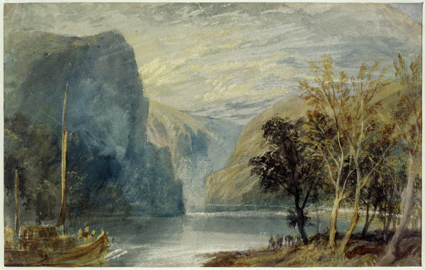 LMG109172 The Lorelei Rock, c.1817 (pencil and w/c on paper) by Turner, Joseph Mallord William (1775-1851); 20.2x31.2 cm; Leeds Museums and Galleries (City Art Gallery) U.K.; English,  out of copyright