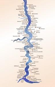 Karte zeigt die 65 Burgen & Schlösser am Romantischen Rhein
